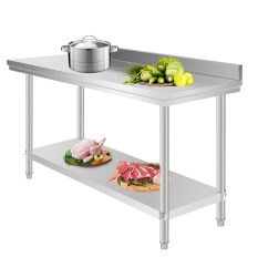 Prep Tables For Kitchen 3 Bowl Sink Commercial Stainless Steel Food Work Table 60 X 24