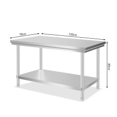 Stainless Steel Kitchen Table Tile Floors 1219mm X 762mm Commercial Work
