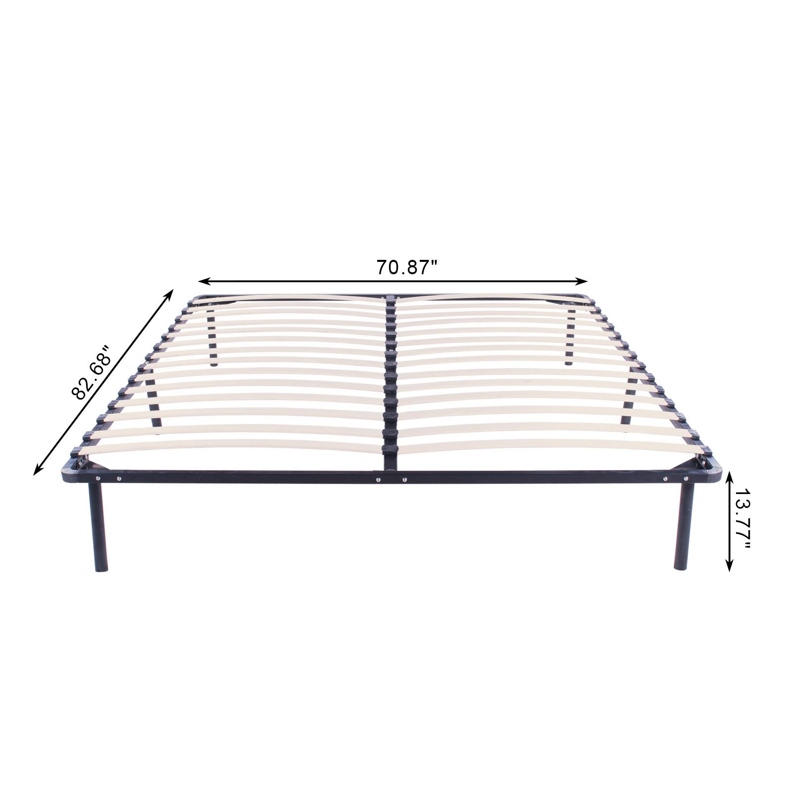 Full King Queen Size Wood Slats Metal Platform Bed Frame