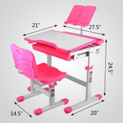 Study Table And Chair For Kids White Fuzzy Rolling Set With Storage Little Girls