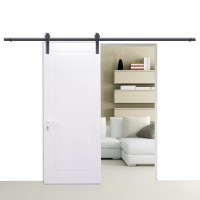 6/6.6/10/12FT Rustic Black Double Sliding Barn Door