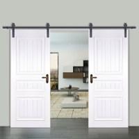 6 /6.6 /10 /12FT Rustic Black Double Sliding Barn Door ...