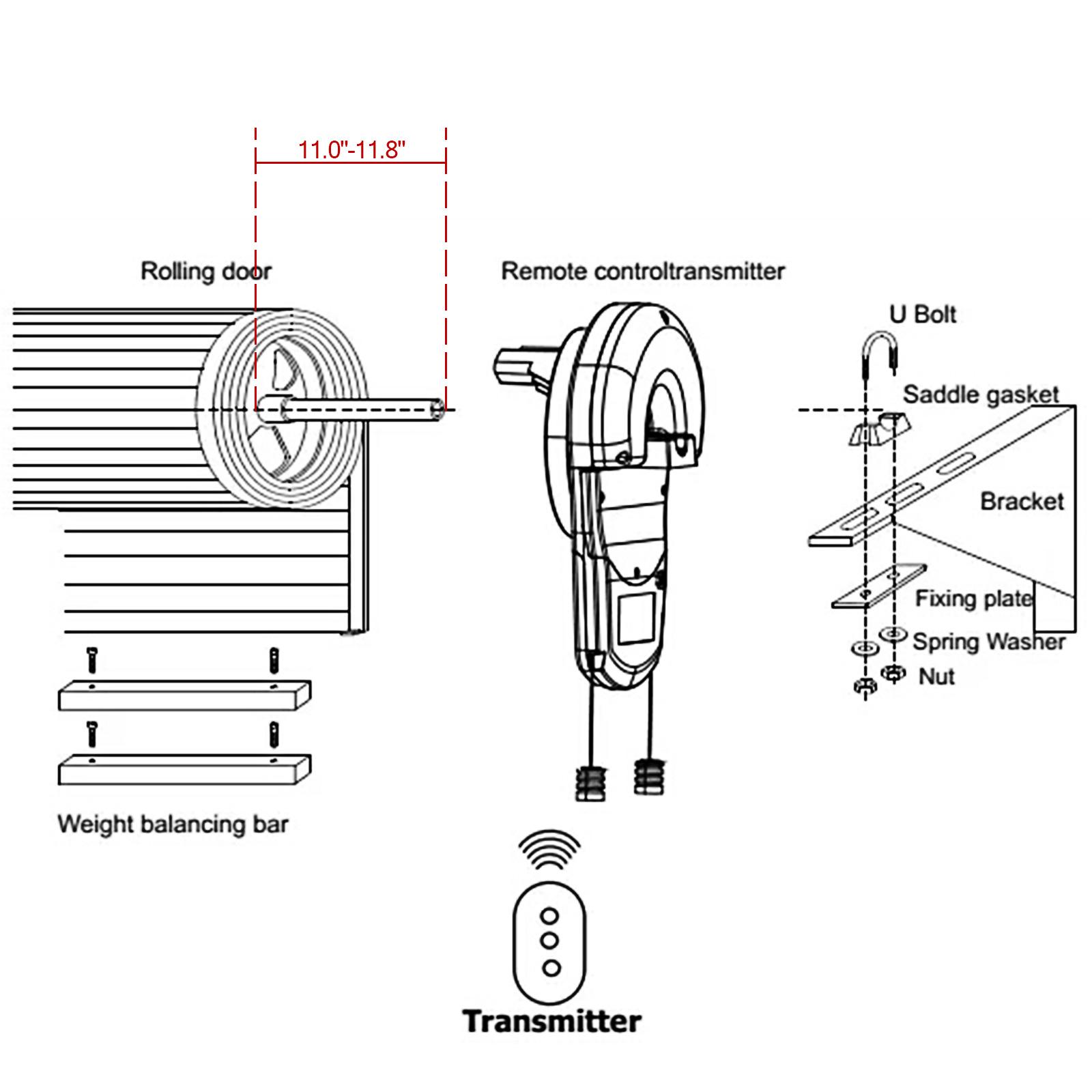 Electric Garage Roller Remote Door Opener Quiet Easy