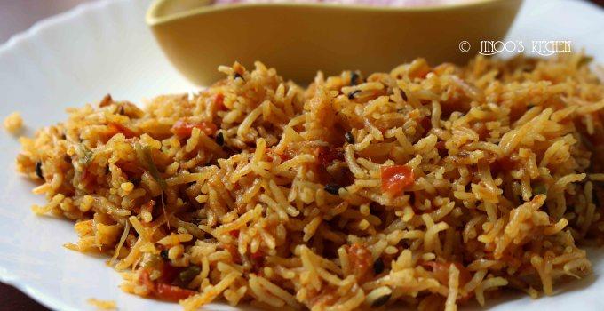 Tomato Biryani with coconut milk | Thakkali biryani  | Pressure cooker tomato rice