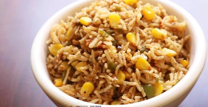 sweet corn pulao recipe | corn capsicum pulav recipe