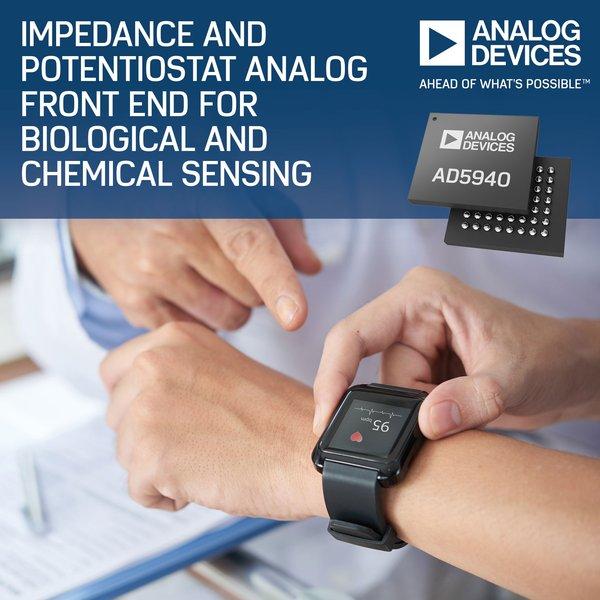 ADI推出用於生物和化學感測的新型阻抗和恒電位儀類比前端
