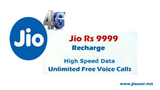 Jio 9999 online recharge plan details
