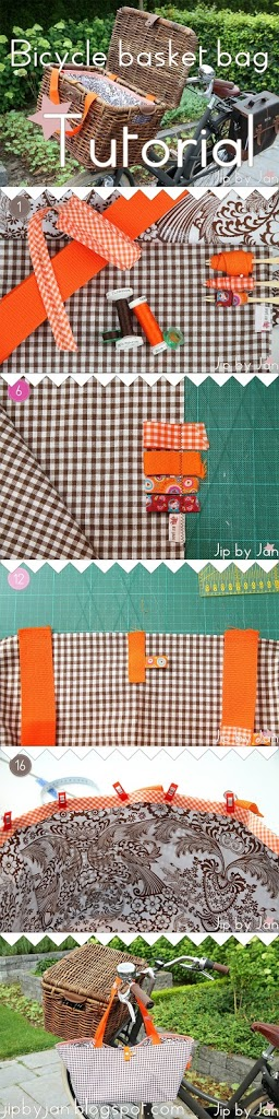 Tutorial How to sew a bag for your bicycle basket Jip by Jan Sewing Oilcloth DIY