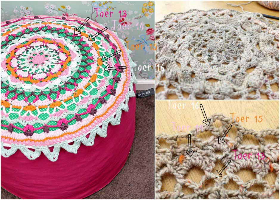 Haakpatroon poef doily 13 t/m 16 Jip by Jan