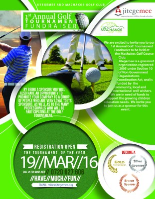 Jitegemee and Machakos Golf Club: 1st Annual Golf Tournament Fundraiser – March 19, 2016