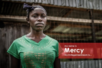 My name is Mercy. I have never seen my father. From as far back as I can remember, my older sister was the breadwinner in our family. She died in 2014, leaving behind two children, including a one-year old. My mother takes on whatever work she can to keep the family going. My siblings had to leave school so that they could help take care of the family. I am thankful every day that I have been able to stay in school. My #JitegemeeDream is to get a good job and help raise my family to a better place and to improve the situation in my village.