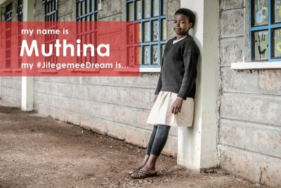 """""""My name is Muthina. I am 14 years old. Machakos is my hometown. I live in a single room with my parents and three brothers. My favourite subject at school is Chemistry. My #JitegemeeDream is to be a doctor one day."""""""