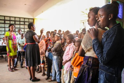 Jitegemee Program Manager, Elizabeth Nzivo, gives instructions to our students at the end of our 2017 Children's Day.