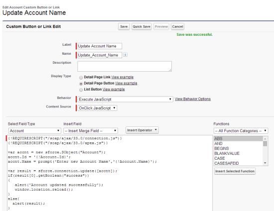Update Record using Javascript
