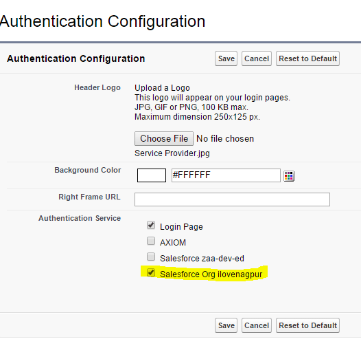 Salesforce Authentication Configuration in My Domain