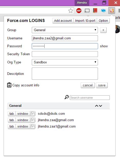 Salesforce Logins - Google chrome extension