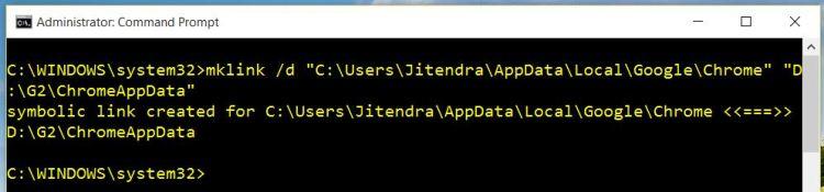 Using mklink command of Windows