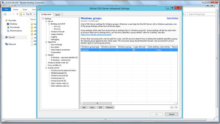 Bitwise SSH Server Advance setting Windows Group