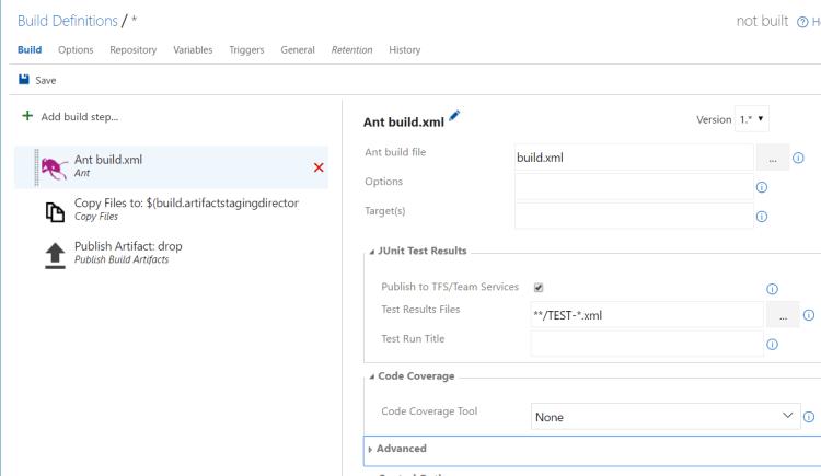 Team Foundation Server (TFS) - New Build definition - add build steps