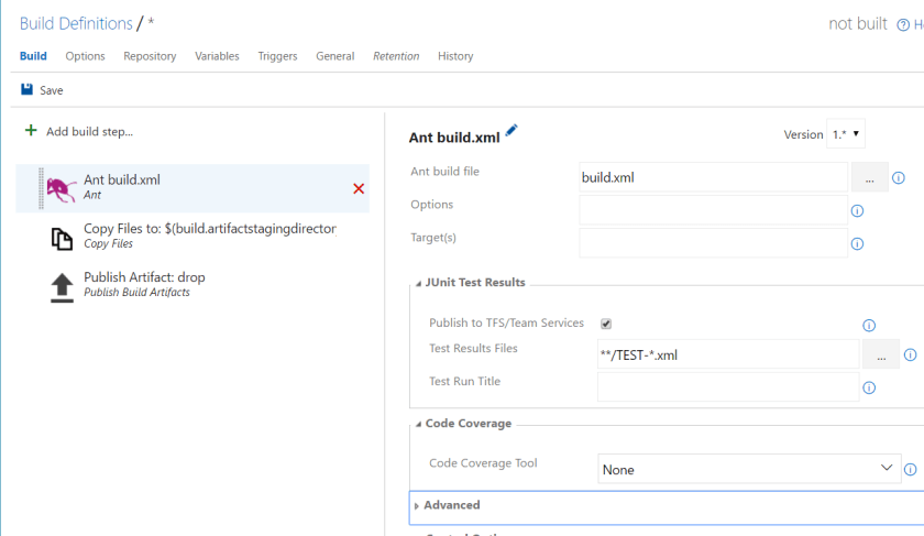 Team Foundation Server (TFS) - New Build definition - add build steps