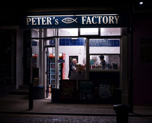 Picture of a takeaways at night in Margate