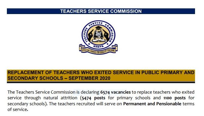 TSC teacher replacement September 2020