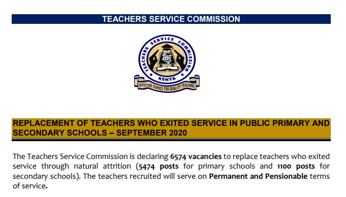 TSC teacher replacement September 2020