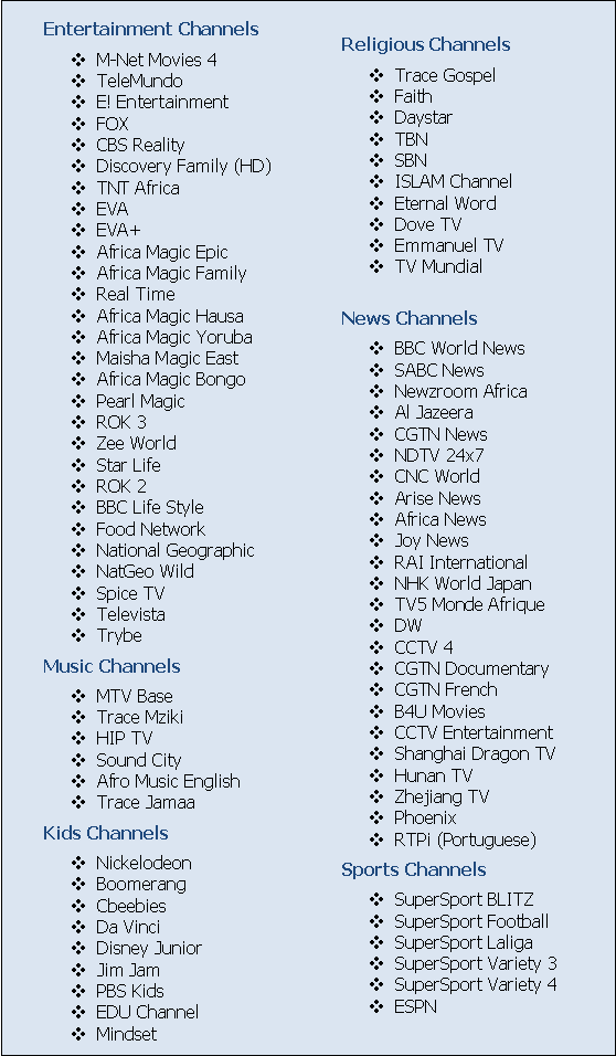 DStv Family bouquet channels