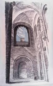 Gottfried Böhm (*1920) Entwurf für den Orgelprospekt im Speyerer Dom 2010 Skizzenpapier, Kohlestift, Pastell 1100x680