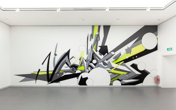 """Mirko Reisser (DAIM), """"DAIM - up and around"""", taping on wall, 1050 x 405 cm, 2011   part   Exhibition: """"Street-Art - meanwhile in deepest east anglia thunderbirds were go...""""   Von der Heydt Kunsthalle Barmen, Wuppertal / Germany   2011"""