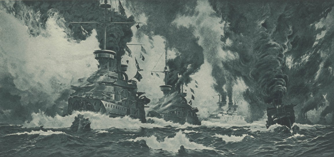 "Hans Bohrdt (1857–1945): Das ""Erste deutsche Linienschiffgeschwader 1903"" vor Helgoland, Heliogravure, Museum LA8"