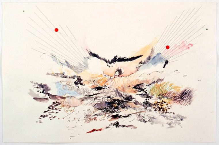 Julie Mehretu, Untitled (2005 drawings), 2005, Tusche, Buntstift, Grafit und Aquarell auf Papier. Courtesy Jeanne Greenberg Rohatyn © Julie Mehretu.
