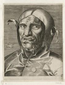 """Philips Galle (1537-1612), Verlegt bei Marten Peeters (um 1500-1565) in Antwerpen, """"Kopf eines Narren zur Fastnacht"""", um 1560, Kupferstich, 388 x 299 mm (Blatt) © Kupferstich-Kabinett, Staatliche Kunstsammlungen Dresden, Foto: Herbert Boswank"""