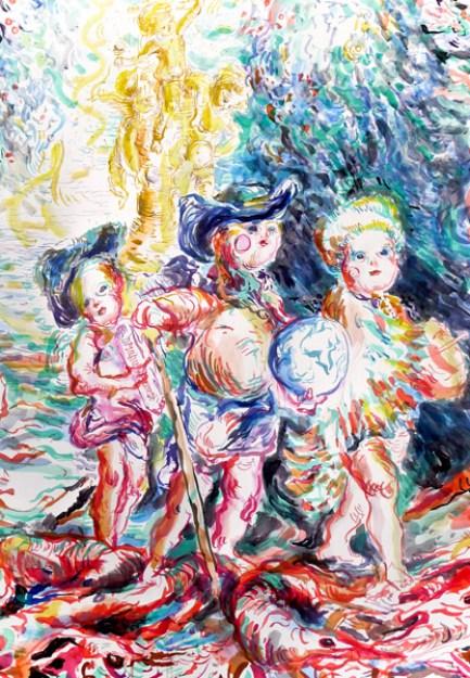 Ulrike Theusner Arrival of The Baby Conquerors, Detail aus Eldorado, 2016 Tusche auf Papier 300 x 133 cm