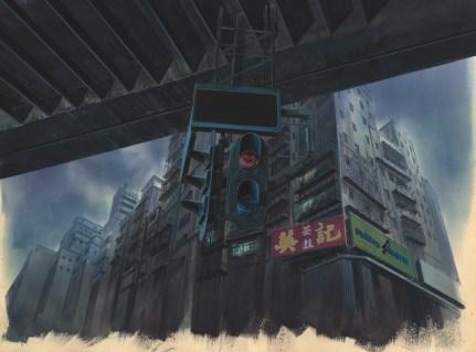 Hintergrund für Ghost in the Shell (1995), Einstellung Nr. 335 Gouache auf Papier, ausgeschnitten, Acryl auf transparenter Folie280 x 380 mm, Illustrator: Hiromasa Ogura © 1995 Shirow Masamune / Kodansha . Bandai Visual . Manga Entertainment Ltd.