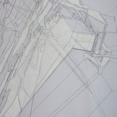 Riet Eeckhout (*1975) Drawing out Gehry, Detail 2018 Polyesterfolie, Bleistift und weiße Wachskreide 900 x 450 mm Courtesy Drawing Matter, © Riet Eeckhout