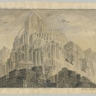 Erich Kettelhut (1893 – 1979) Stadt der Söhne City of the Sons Mischtechnik auf Papier, weiß gehöht Mixed media on paper, highlightened in white 45,3 x 60,4 cm Sammlung/Collection: Deutsche Kinemathek – Erich Kettelhut Archiv © Erich Kettelhut; Deutsche Kinemathek Berlin