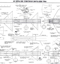 model airplane news august 1958 plans for two stage jetex rocket [ 1080 x 756 Pixel ]