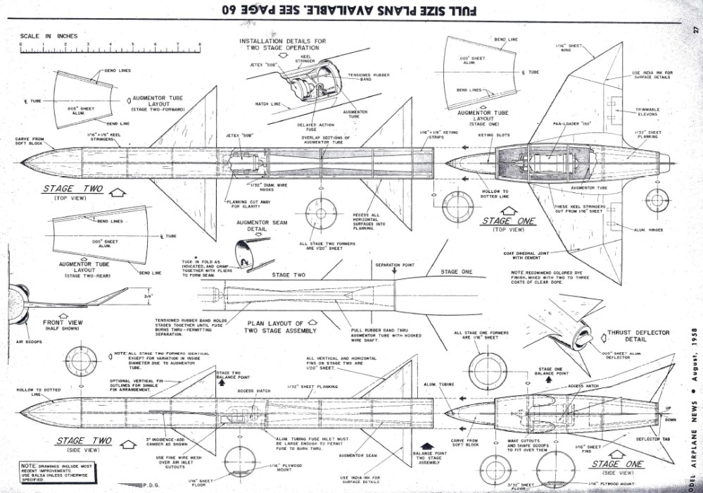 medium resolution of  model airplane news august 1958 plans for two stage jetex rocket