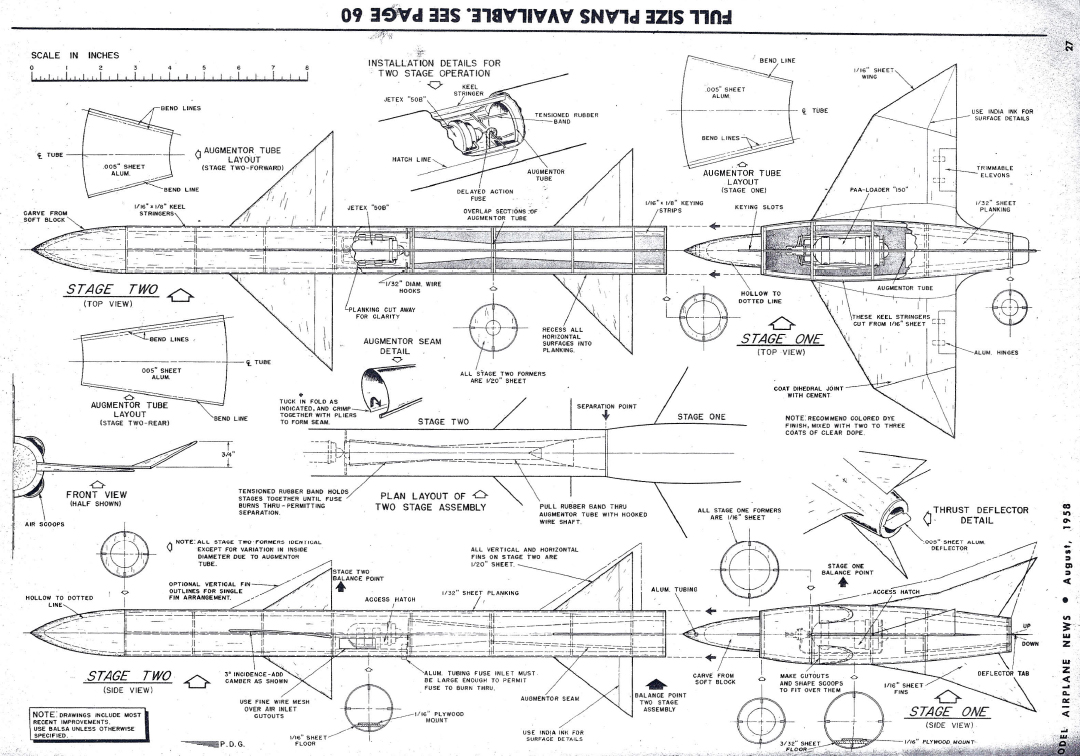 hight resolution of  model airplane news august 1958 plans for two stage jetex rocket