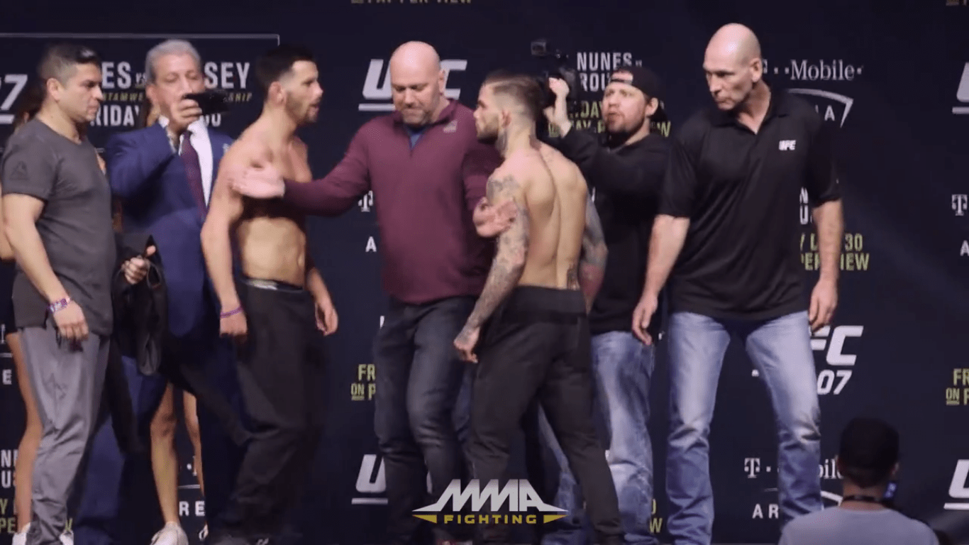 dominick cruz and cody garbrandt have intense staredown