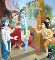 Krishna with Yashoda, Balarama, and friends / ISKCON Krishna Balaram Mandir