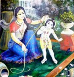 Krishna and Mother Yashoda / Wallpainting Krsna Balaram Mandir