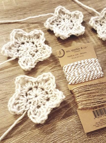 Crochet Star Garland For Christmas