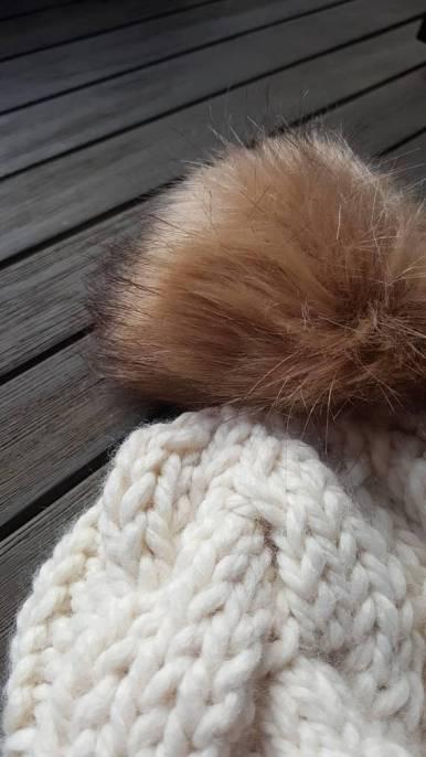 fuzzy pom pom knit hat