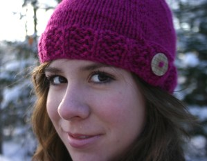 knit hat - pink and button