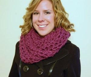 crochet cowl - plum, jjcrochet