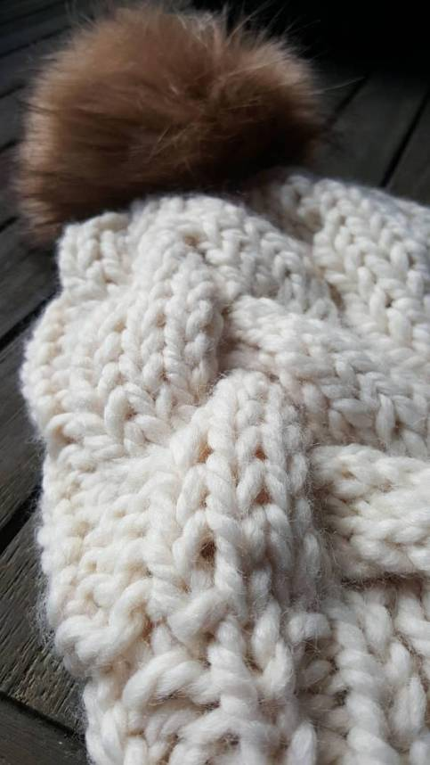 chunk knit cream hat pom pom