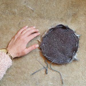 Step 3: Sew big, 1 inch stitches around circle.