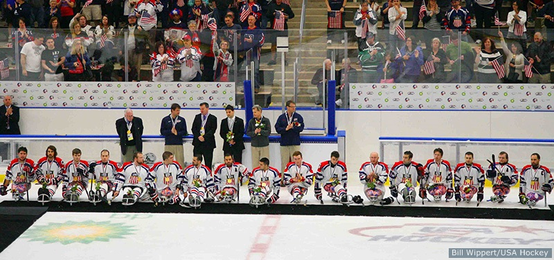 USA v Canada at the Harborcenter in Buffalo, NY. May 3, 2015. Gold Medal Game - 2015 IPC Ice Sledge Hockey World Championships A-Pool. Photo by Bill Wippert